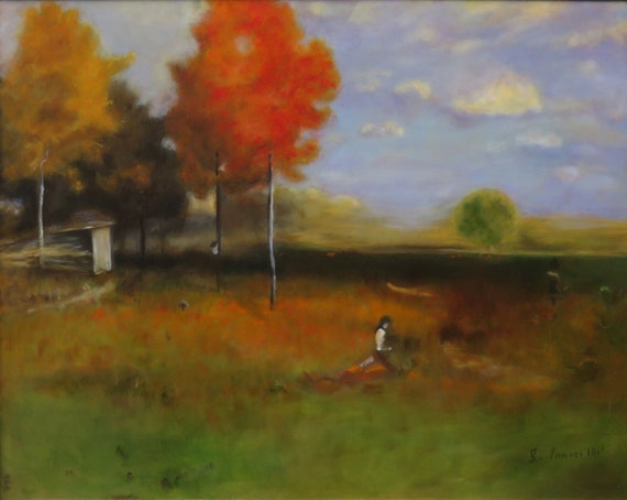 "Original Reproduction Painting of Indian Summer by George Inness   18x24""   Oil on Panel"