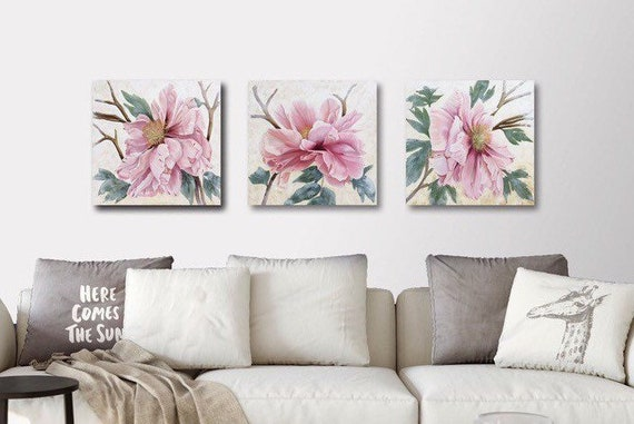 Peony Blush Triptych -  Oil & Cold Wax on Panels