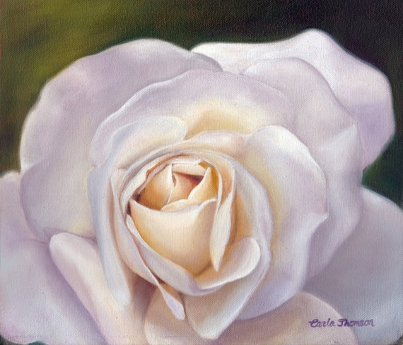 Wall Art PRINT 8x10  panel of Original oil painting of White Rose Flower , Original Painting Print
