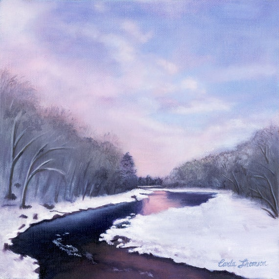 "After the Snowfall  8 x 8""   Oil on Canvas"