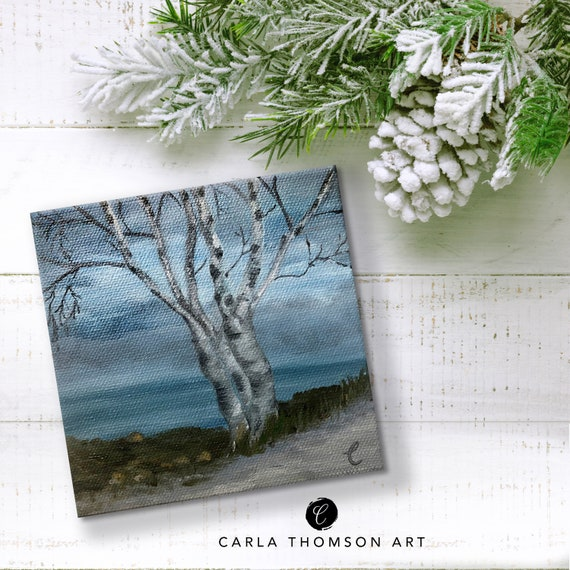 Small Oceanscape Painting, 5x5 Birch Tree Canvas Art, Desk Art, Decor, Gift