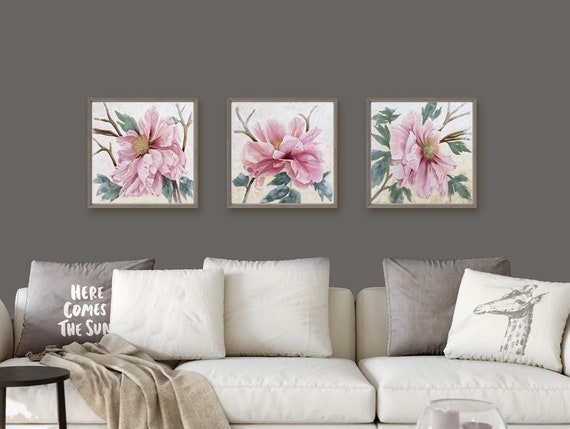 PRINT of Peony Blush Triptych