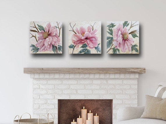 "Peony Triptych  18 x 54""  Oil & Cold Wax on Panels"