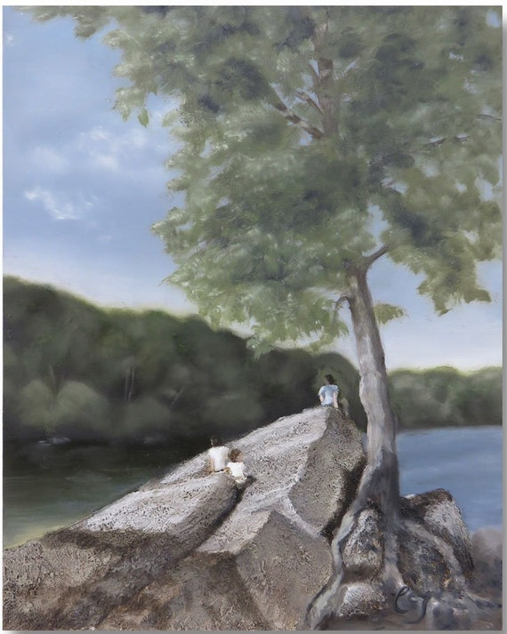 PRINT Lakeside Landscape, Painting of Lake and Trees Wall Art, Textured Painting Rocks Wall Decor , Summer Landscape Painting