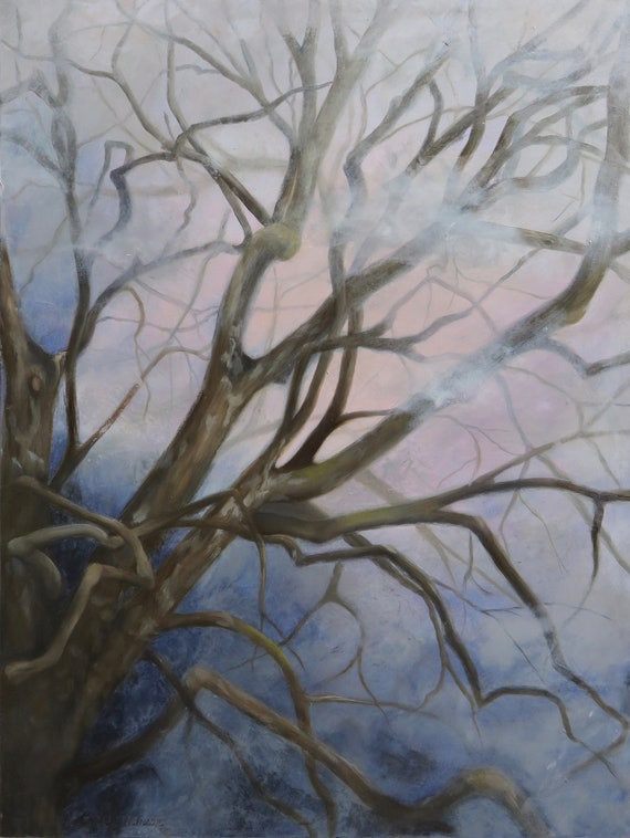 "Branches III  ""Intrigue""  18x24""   Oil & Cold Wax on Panel"