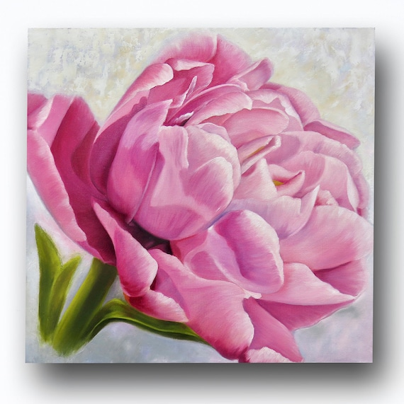 Art PRINT of Original Oil Painting of Single Pink Double Tulip or Peony for Nursery, Home or Office Decor