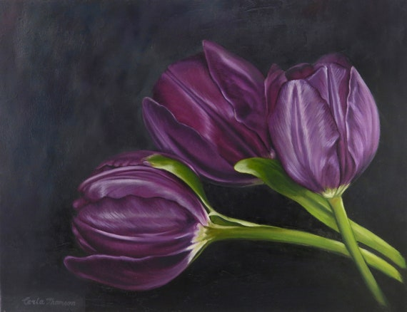 Art PRINT of Original Oil Painting of Deep Purple Tulips for Home Decor or Office Decor