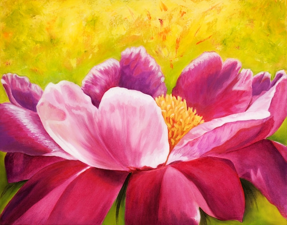 Art PRINT 8x10 Panel of Colorful Pink and Yellow Peony Flower Painting