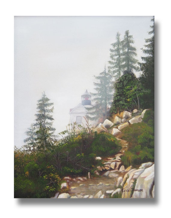 Original Oil Painting Landscape of Maine Lighthouse