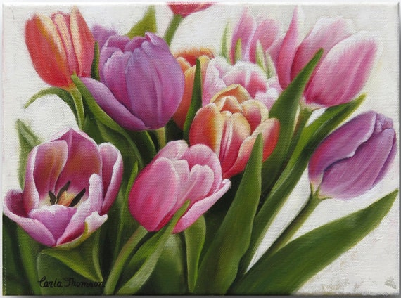 Art PRINT of an Original Oil Painting of Fresh Bouquet of Tulips Perfect for Home or Office Decor