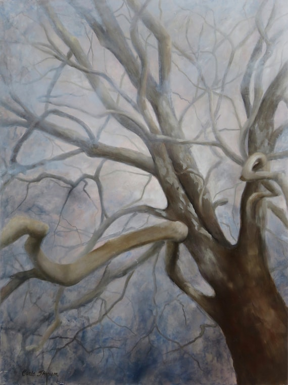 "Branches I  ""Mysterious""   18x24""  Oil & Cold Wax on Panel"