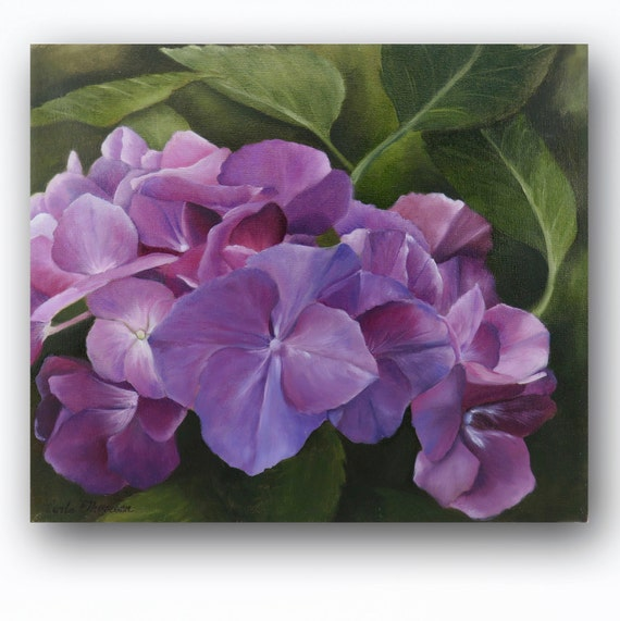 Art PRINT of an Original Oil Painting of Bright Purple Hydrangea Flower Perfect for Home or Office Decor
