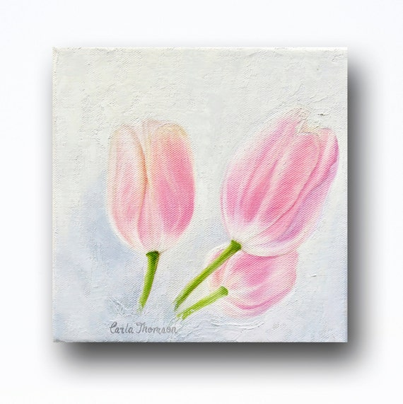 Art PRINT of Original Oil Painting of Three Pink Tulips on Bright White for Nursery, Home or Office Decor