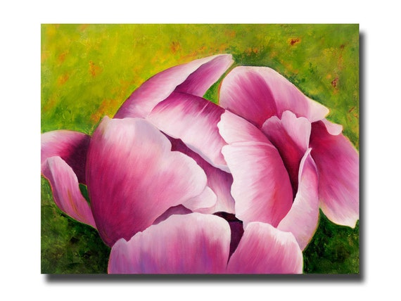 Pink Peony Bud PRINT from Original Painting Home Decor or Office Decor