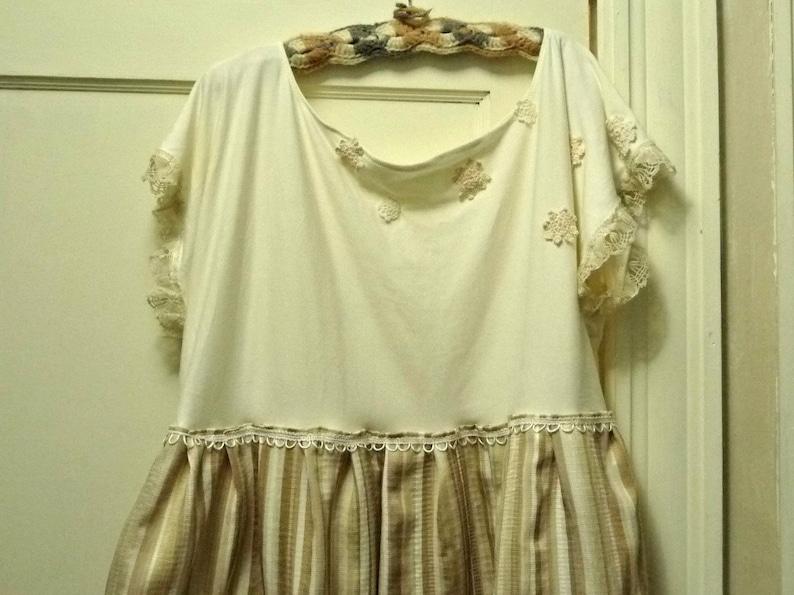 White Spring Crochet Pocket Vintage Lace Plus Size Tan Organic Cotton Tunic Top Blouse Bamboo XL 1X or 2X Striped Cream