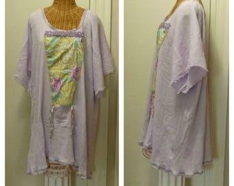 Lavender Peony Dress, Ready Made, Large, 1x, 2x, 3x, 4x, 5x, 6x, Art Wear, Sundress, Ready To Ship, Half Sleeves, cotton gauze