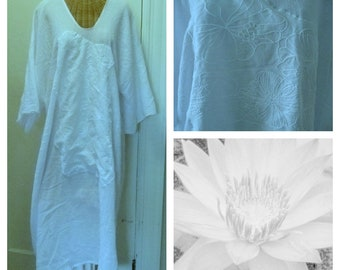 White Lotus Sundress Large, 3x, 4x, 5x, Maxi, Long, Art Wear A Line Style Embroidered Crewel Cotton Gauze