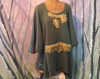 Nordic, Folk, Dress, Gypsy Top, Sari Tunic, Olive Green, Pocket, Boho, Shirt, Gypsy, Plus Size, 2x, 3x, Sari Beaded, Snowflake, Art Wear
