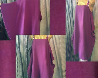 Plum Wing Dress, Small, Medium, Lagenlook, Cotton, Womens