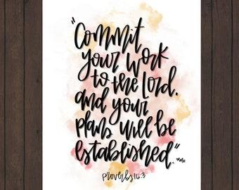 Proverbs 16:3 Digital Scripture print