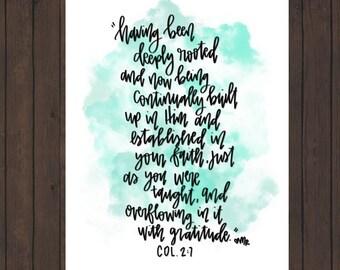 Colossians 2:7 Digital Scripture Print
