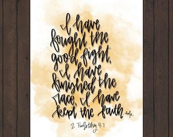 2 Timothy 4:7 Digital Scripture Art