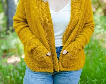 make your own Retreat Cardigan (DIGITAL DOWNLOAD PATTERN) Top Down Sweater Adult Women Teen Plus Pockets