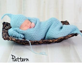 make your own Cushy Cocoon & Hat (DIGITAL KNITTING PATTERN) preemie newborn baby