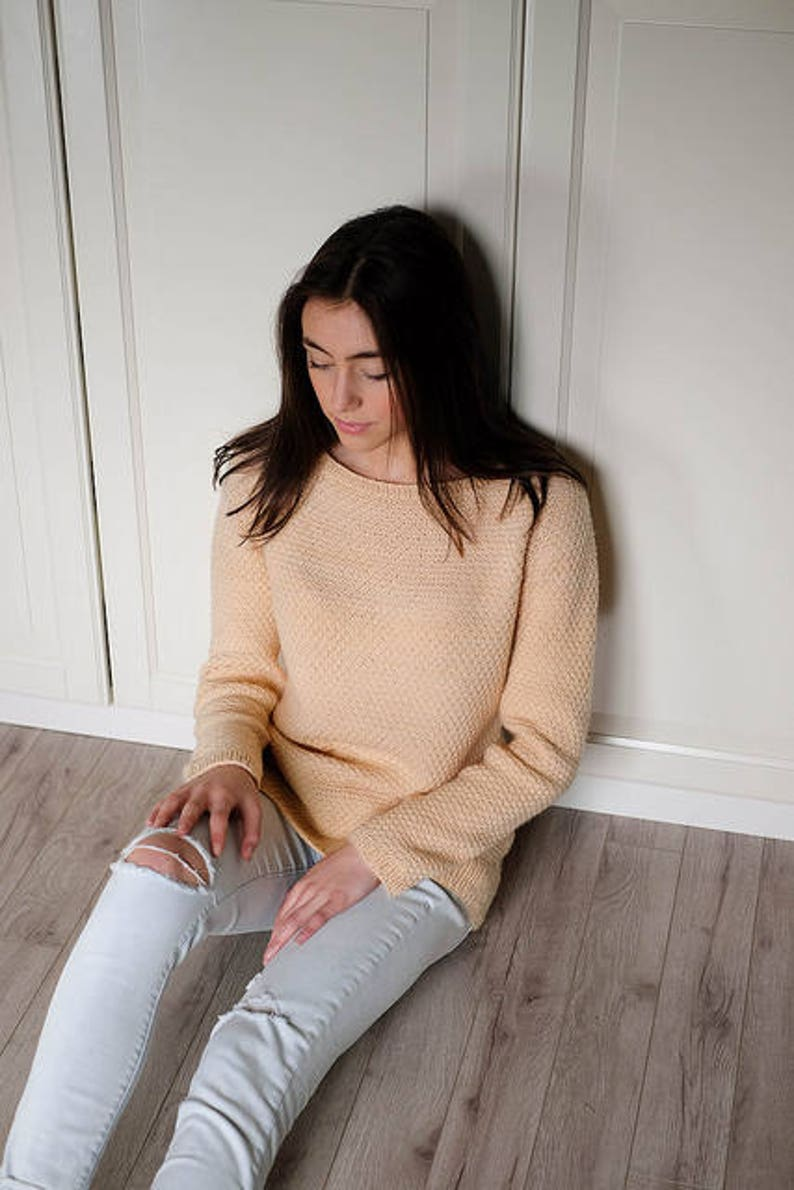 Adult Teen Women make your own Blush Pullover DIGITAL KNITTING PATTERN