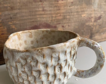 Handbuilt White Textured Mug