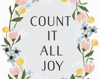 Joy Wreath  Art Print