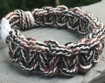 Hemp bracelet, braided bracelet, brown white black braided hemp bracelet, cuff, bangle bracelet, cuff bracelet