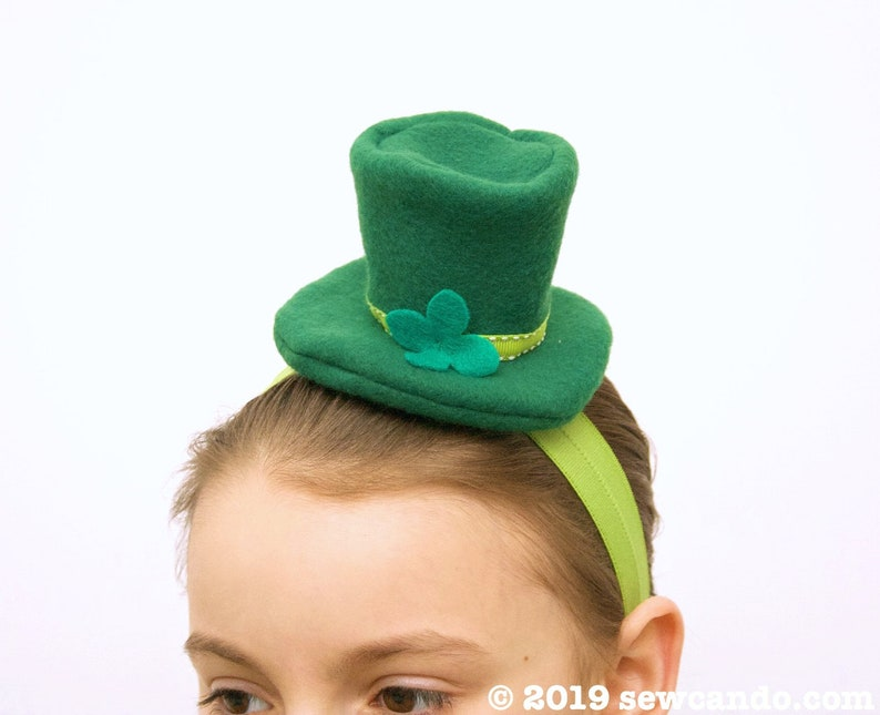 Little Leprechaun Mini Top Hat Headband PDF Pattern image 4