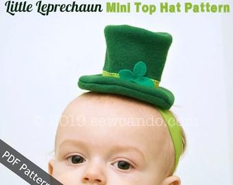 Little Leprechaun Mini Top Hat Headband PDF Pattern
