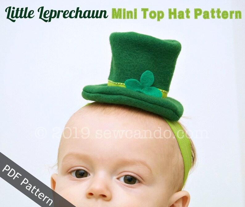 Little Leprechaun Mini Top Hat Headband PDF Pattern image 0