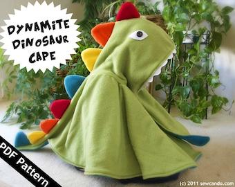 Baby & Kids Two Size Dynamite Dinosaur Dragon Play Halloween Costume Cape PDF Pattern
