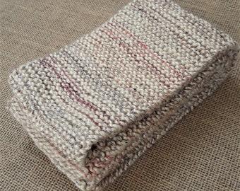 Handknit Scarf - Beige/Multicolor Gradient