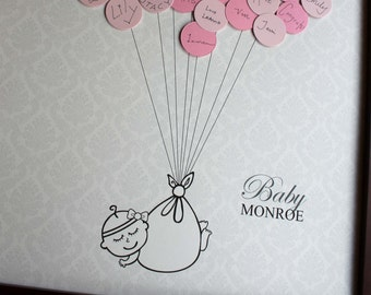 Baby Shower Guestbook -Damask Background -GIRL