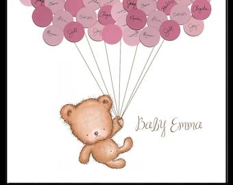 Baby Shower Ideas Teddy Bear Guestbook Print - Girl