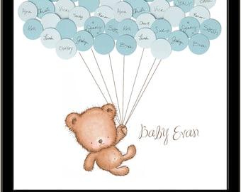Baby Shower Teddy Bear Guestbook Print - Boy