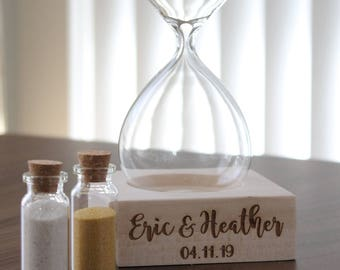 Sand Ceremony Contemporary Hourglass Set - Beach Wedding - Blended Family