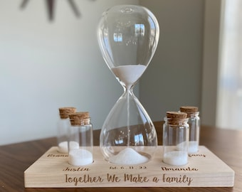 Engraved Ceremony Family Unity Set Hourglass With Wooden Box Personalized Wedding Vintage Sand Ceremony Hourglass Set