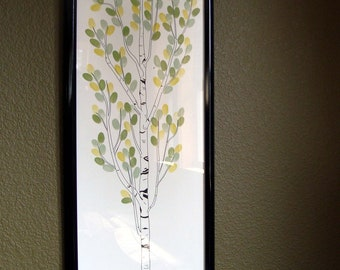 "Personalized Wedding Tree Thumbprint tree Guest Book  Aspen, size 12""x36"" for up to 150 guests"