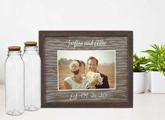 Wedding Photo Frame Blended Family Unity Sand Ceremony Set in Barnwood Shabby Chic