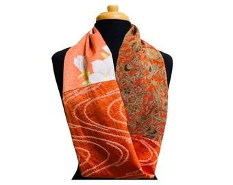 Infinity Scarf  Vintage Japanese Kimono Silk- Free Shipping to U.S. addresses