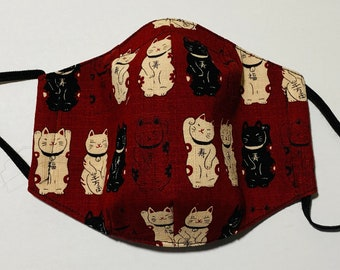 Cotton Face Mask with Filter Pocket - Japanese cotton - Lucky Cat - Adult siz