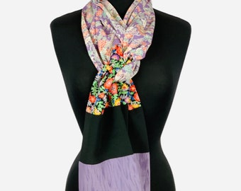 "SILK SCARF made from Vintage Japanese Kimono Silk - 90"" length - Free Shipping to U.S. addresses"
