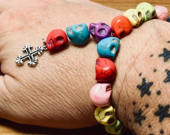Beaded Bracelet, Mini Rosary - Skull Rainbow