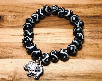 Beaded Bracelet, Black & White With Elephant
