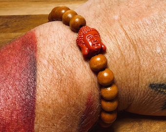 Beaded Bracelet, Wood With Buddha Head